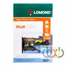 Фотобумага А4, 160 г/м2, 100 л., односторонняя матовая, Lomond 0102005