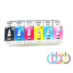 Комплект оригинальных чернил Epson 673, Epson L800, Epson L801, Epson L805, Epson L810, Epson L850, Epson L1800, 70ml*6